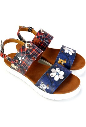Neefs Kadın Lacivert Kot Desenli Günlük Sandalet NSN312