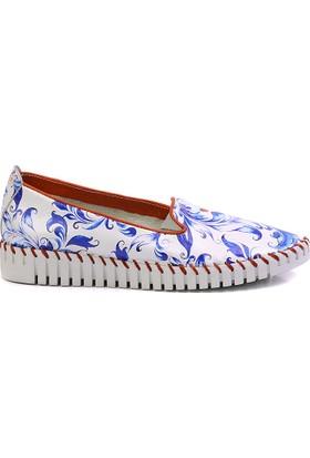 Neefs Kadın Beyaz Mavi Çiçekler Slip On Espadril Ayakkabı PUS105