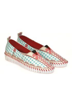 Neefs Kadın Mint Kırmızı Bağcık Slip On Espadril Ayakkabı PUS302