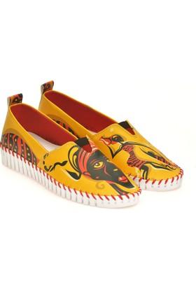 Neefs Kadın Sarı Kırmızı Cadı Slip On Espadril Ayakkabı PUS305
