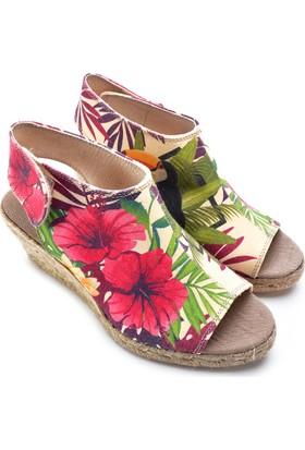 Neefs Kadın Renkli Bahçeler El Yapımı Espadril Sandalet SAN2903