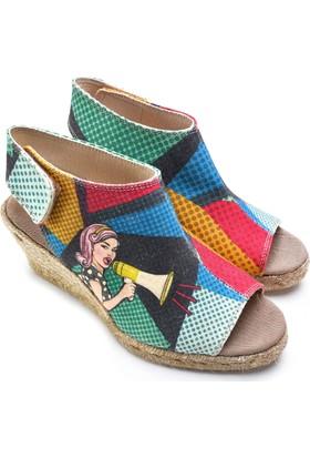 Neefs Kadın Renkli Anons Yapan Kız El Yapımı Espadril Sandalet SAN2904