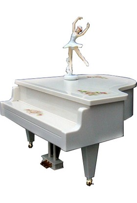 Hedi̇ye Mani̇a Piyano Şeklinde Balerinli Müzik Kutusu Büyük Boy