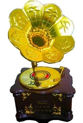 Hedi̇ye Mani̇a Büyük Boy Çekmeceli Nostaljik Gramafon Müzik Kutusu