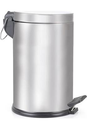 Konstar VIN003 Metal Çöp Kovası Gümüş