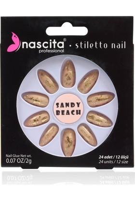 Nascita Stiletto Takma Tırnak - Gold Printing