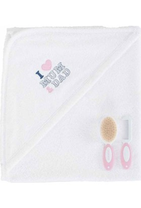 İdil Baby 6201 Kız Bebek Havlu Seti Beyaz