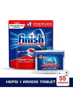 Finish Hepsi Bir Arada Bulaşık Makinesi Deterjanı 55 Tablet + Finish Makine Temizleyici 250 ml