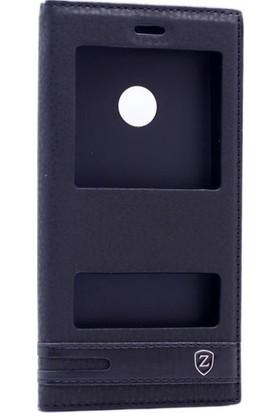 Case 4U Huawei P8 Lite 2017 Kılıf Pencereli Kapaklı Siyah