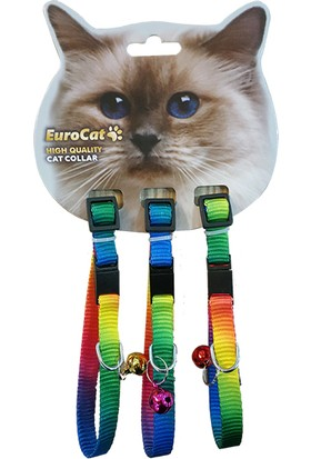 Eurocat Gökkuşağı Renkli Çıngıraklı Kedi Boyun Tasması 3'lü