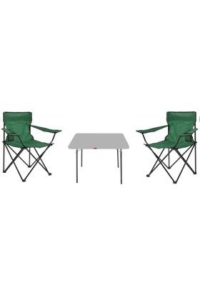 Eren 2 Adet Katlanır Kamp Sandalyesi + Kamp Masası 60 x 80 cm