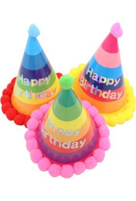 Kazanabil Kenarları Pompomlu Happy Birthday Gökkuşağı Doğum Günü Şapkası