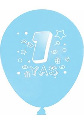 Kazanabil 1 Yaş Doğum Günü Temalı Parti Balonu Mavi 20 Adet