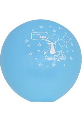 Kazanabil 20li Hoşgeldin Bebeğim Temalı Erkek Bebek Parti Balonu Mavi