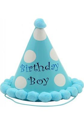 Kazanabil Kenarları Pompomlu Erkek Çocuklar İçin Doğum Günü Şapkası Mavi