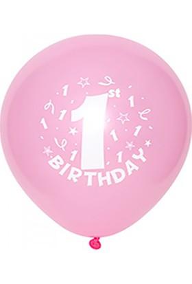 Kazanabil 1 Yaş Doğum Günü Temalı Parti Balonu Pembe 20 Adet