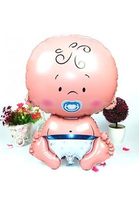 Kazanabil Erkek Bebek Figürlü Kendin Şişir Uçan Folyo Balon Mavi