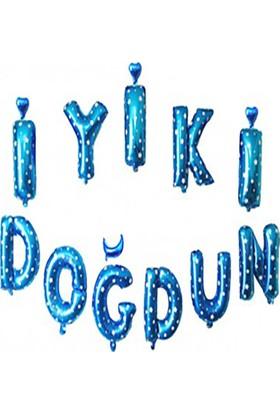 Kazanabil İyiki Doğdun Set Yıldız Desenli Folyo Balon Harfler Mavi 40cm