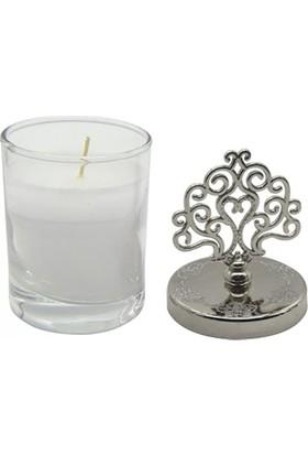 Kazanabil Rumi Kesim Metal Kapaklı Cam Mumluk Nikah Şekeri Süsü Gümüş