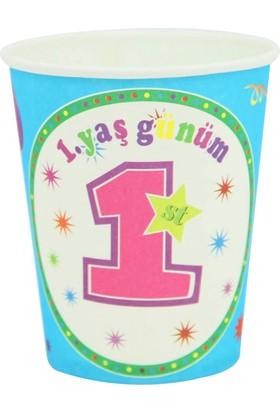 Kazanabil 10lu 1 Yaş Günüm Yazılı Doğum Günü Partisi Bardağı Mavi
