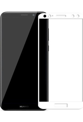 Dafoni Huawei Mate 10 Lite Curve Tempered Glass Premium Full Beyaz Cam Ekran Koruyucu