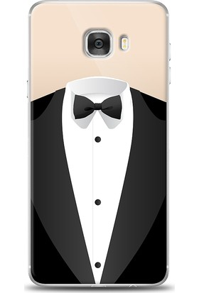 Eiroo Samsung Galaxy C7 Suit Desenli Kılıf