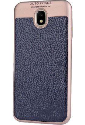 CoverZone Samsung Galaxy J3 Pro 2017 Kılıf J330 Deri Görünümlü Ultimate Buttom Kapak + Temperli Ekran Koruyucu
