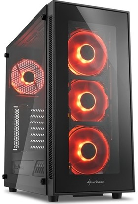 Sharkoon TG5 Red Temperli Cam Pencereli 4x Kırmızı Led Fanlı 2xUSB 3.0 ATX Oyuncu Kasası