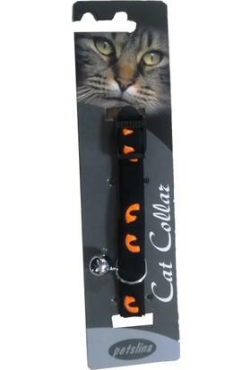 Goodnesscat Velvet Black Nubuk Fosfoslu Kedi Boyun Tasması 10 Mm x 30 Cm Turuncu