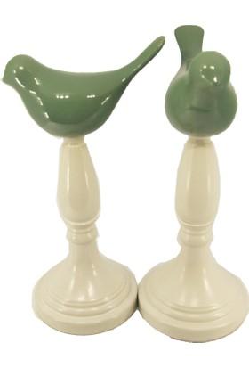 Casa Viola Beyaz Ayak Üzerine Yeşil Porselen 2 li Kuş Süs Eşyası