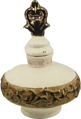 LuckyArt Eskitme Krem Kahve Şeritli Dekoratif Ürün