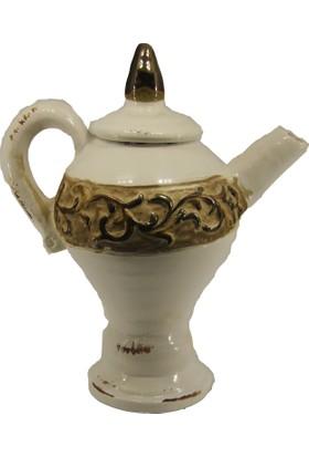 LuckyArt Krem Eskitme Bronz Şerit Çaydanlık