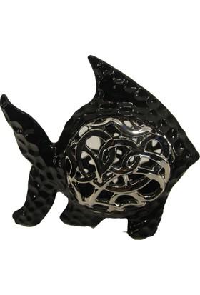 LuckyArt Biblo Siyah Gümüş Varak Süslemeli