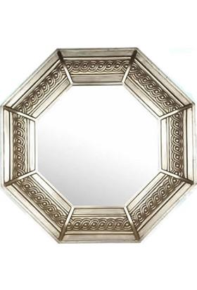 Bellona HD0071-C1016S Ayna Gümüş Varak Süslemeli Sekizgen Duvar Aynası