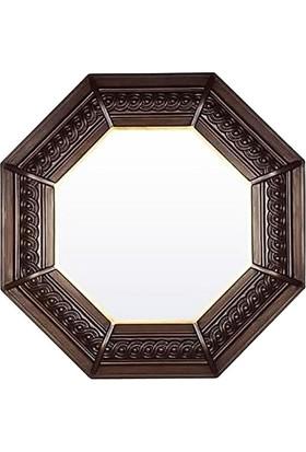Bellona Ahşap Görünümlü Sekizgen Duvar Aynası
