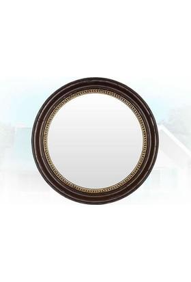 Bellona Ayna Ahşap Görünümlü Altın Varak Saç Örgülü Yuvarlak Duvar Aynası