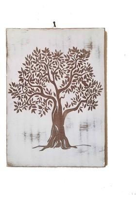 Woodyelfony Beyaz Eskitme Ağaç Tablo