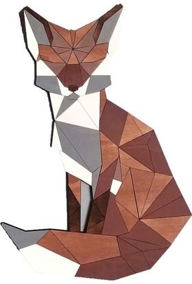 Woodyelfony Geometrik Ahşap Tilki Tablo