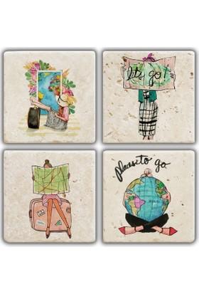Jojo Tasarım Doğal Taş Bardak Altlığı - Traveler Girl 2