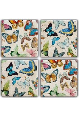 Jojo Tasarım Doğal Taş Bardak Altlığı - Butterflies