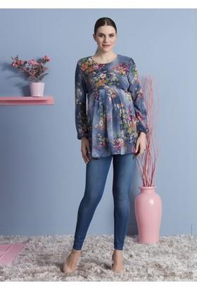 Gör&Sin Çiçek Desen Hamile Bluz