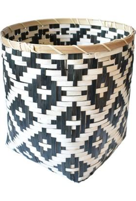 Virago Home Décor Zigzaglı Bambu Sepet