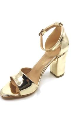 Pianoluce Altın Ayna Kadın Kalın Topuklu Ayakkabı Pla31-102
