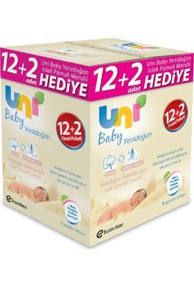 Uni Baby Yenidoğan Islak Pamuk Mendil 12'li + 2 Hediye