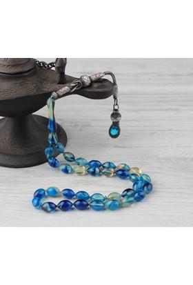 Tesbihevim Gümüş Kazaz Püsküllü Sıkma Kehribar Tesbih - Mavi
