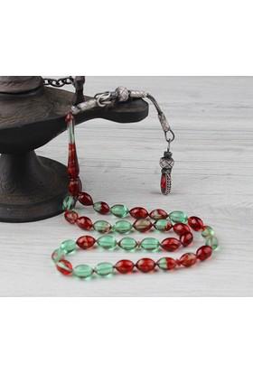 Tesbihevim Gümüş Kazaz Püsküllü Sıkma Kehribar Tesbih - Kırmızı-Yeşil