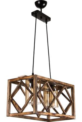 Hepsiburada Home Wood Selection Yalıkavak 2 Li Ahşap Sarkıt Lüster Camlı