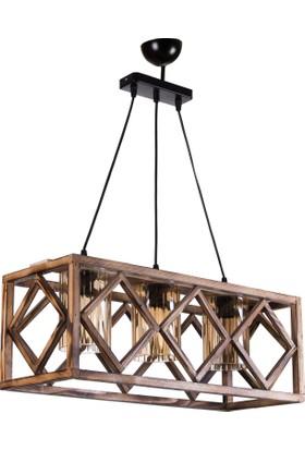 Hepsiburada Home Wood Selection Yalıkavak 3 Lü Ahşap Sarkıt Lüster Camlı
