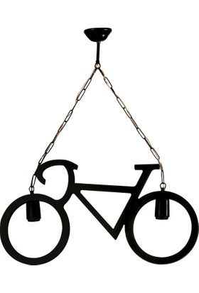 Hepsi Burada Home Wood Selection Bisiklet 2'Li Siyah Ahşap Avize