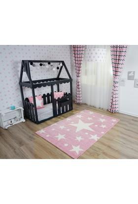 Pembe Yıldızlı Çocuk Odası Halısı